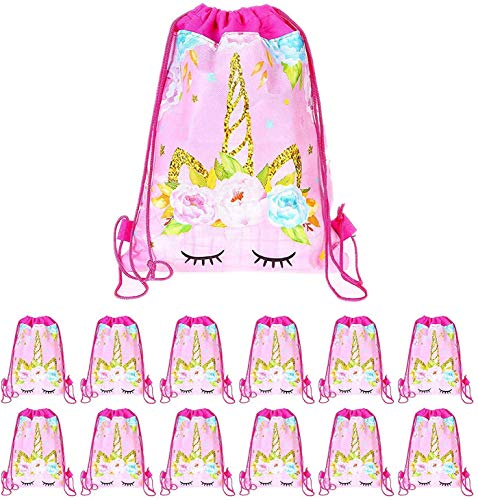 SIMUER Einhorn Mitgebsel Kindergeburtstag Gastgeschenke Tasche, 15 Stück Pink Unicorn Party Geschenktüten, Geburtstagsfeier Give Aways Partytüten Kordelzug Rucksack Turnbeutel für Kinder Geburtstag