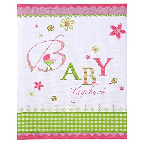 goldbuch Babytagebuch, Buch ca. 21 x 28 cm, Tagebuch mit 44 illustrierte Seiten, Leinenstruktur Bedruckt, 11085, Karton, Lovely Rosa, 21x28 cm