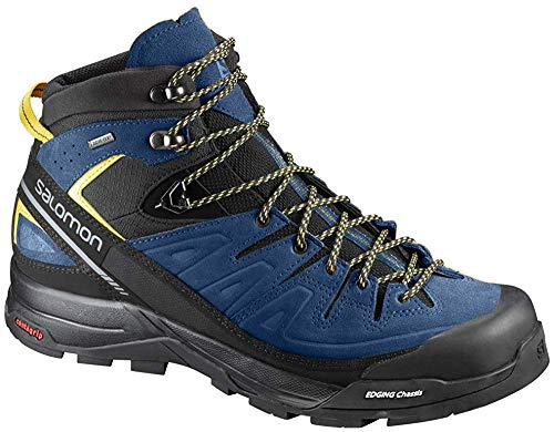Salomon X Alp Mid LTR GTX Hiking Boot - Men's Black/Poseidon/Sulphur Spring 10