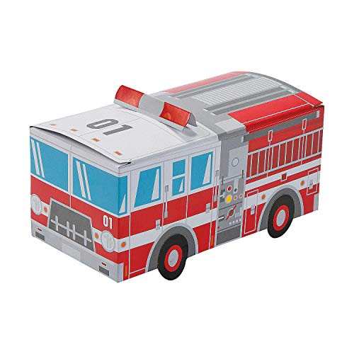 Firetruck Shaped Treat Box (set of 12) Birthday Favor and Party Supplies