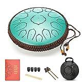 Amkoskr 14 Pulgadas 35cm Tambor de Lengua de Acero con 15 Notas Tonos D Percusión Instrumento Tambor de Mano con Mazos de Tambor/Bolsa de Transporte(Verde)