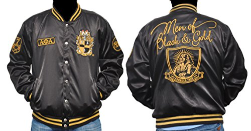 Big Boy Gear New! Mens Alpha Phi Alpha Metallic Fraternity Jacket Men of Black & Gold (M)