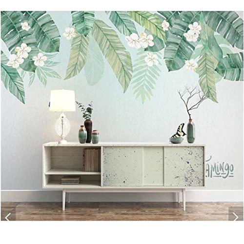 Wuyii 3D Gebruikergedefinieerde tropische palmbladeren fotobehang tv-achtergrond wandschilderijen handbeschildering woonkamer home behangrollen 150 x 120 cm.