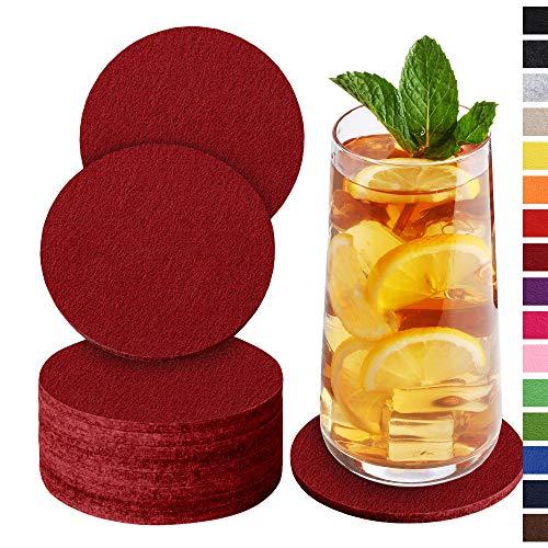 Sidorenko Sottobicchieri in feltro rotondi per bicchieri - Set di 10 - Sottobicchieri di vetro di design in rosso vino per bevande, tazze, bar, vetro - Sottobicchieri da tavolo
