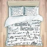 LISNIANY Bedding Juego Funda Edredón,Albert Einstein teoría Ley física fórmula matemática ecuación Doodle Icono Escritura,Microfibra Funda Nórdico Fundas Almohada (Cama 240x260cm+Almohada 50X80cm)