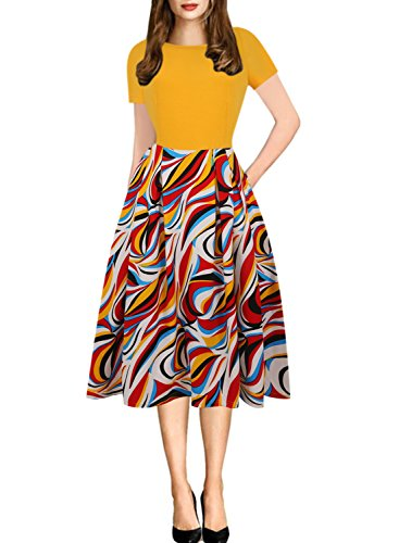 oxiuly Women's Casual Scoop Neck Pockets Floral Flare A-Line Swing Dress OX165 (M, Yellow)
