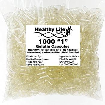 Empty Gelatin Capsules - 1000 Size 1  Bulk Wholesale