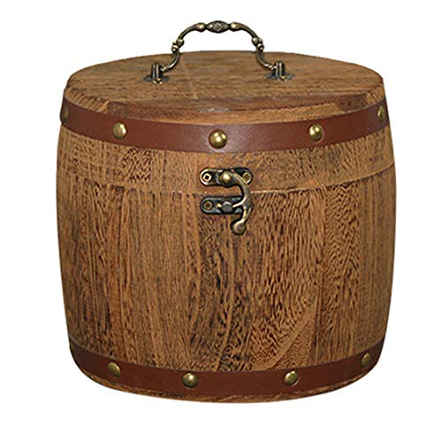 Sumerlly Mini Wooden Barrel Canister Storage Box for Tea Leaf Flour Coffee Bean