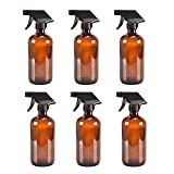 6 Amber Glass Spray Bottle Bottles with Black Trigger Sprayer.16 oz Refillable Bottle for Essential Oils,Cleaning Products,Aromatherapy,Organic Beauty Products.Stream and Spray Settings Available