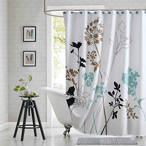 """SDLIVING Silhouette Blue Microfiber Fabric Shower Curtains,Printed Waterproof Polyester Plants Shower Curtain for Bathroom,White and Navy Leaves Shower Curtain,72"""" W x 78"""" H"""
