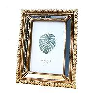 フォトフレーム レトロなシンプルなフォトフレームの樹脂写真写真の表示枠ヨーロッパスタイルのフォトフレーム写真ディスプレイ ベーシックフレーム (色 : Gold, Size : 15.5X20.5 cm)