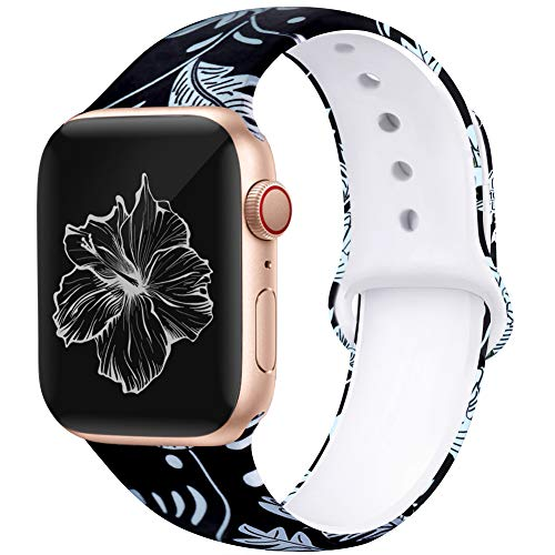 Kaome Floral Bands Compatible with App le Watch Band 38mm 40mm , Soft Silicone Fadeless Pattern Printed Replacement Strap Bands for Women, Compatible with iWatch Series 5/4/3/2/1, S/M