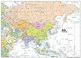 Carte géopolitique de l'Asie-Papier plastifié-Format A0,Taille 84,1x 118,9cm