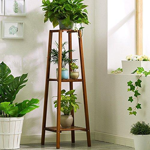 ZHANWEI Etagère à fleurs Porte Pots pour Fleurs et Plantes En bois 2/3/4 étages Au sol Bambou Vintage Assemblée Balcons Salon Intérieur / extérieur, Couleurs primaires, 32 * 32 * 80 cm / 32 * 32 * 100 cm / 37 * 37 * 120 cm ( taille : Layer 3 )