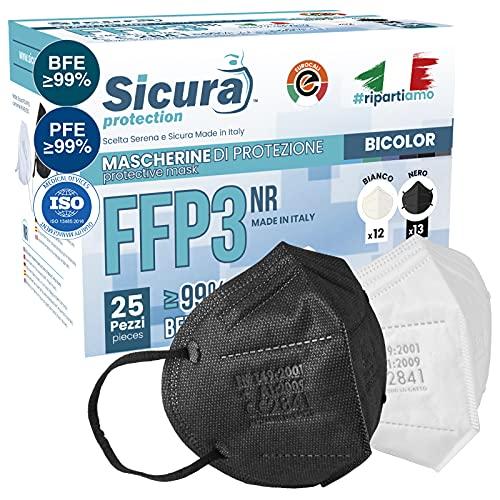 25 Mascherine FFP3 Certificate CE Nere e Bianche Made in Italy BFE ≥99%   PFE ≥99% logo SICURA impresso Mascherina italiana ffp3 SANIFICATA e sigillata singolarmente 12 Bianche + 13 Nere
