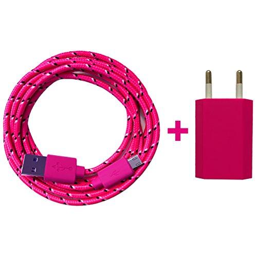 USB Netzteil 5V/1A + 2m Nylon Micro USB Ladekabel Datenkabel SET kompatibel mit [Universal, Handy, Tablet, Smartphone, Samsung Galaxy, HTC,...