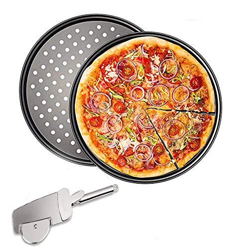 Bandejas Pizza,Juego de 3 Bandejas Pizza Horno Redondas, Antiadherentes y Perforadas, con Cortador de Pizza para Pizza para Fiestas Familiares En La Cocina