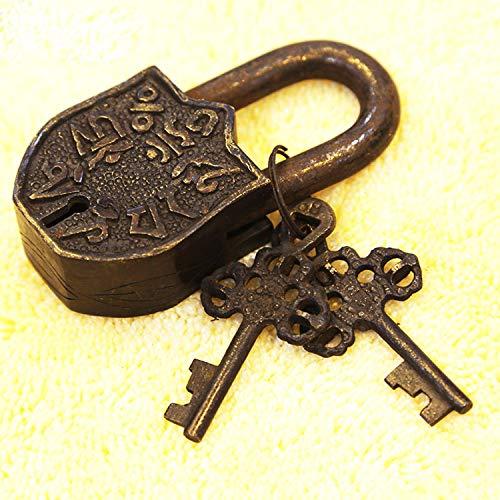 Raing Handgefertigte Lock Antique Lock Villa Lock sechs-Wort-Mantra Pure Kupfer alte Eiserne Kunst alte Wohnungstür Dekoration Schloss