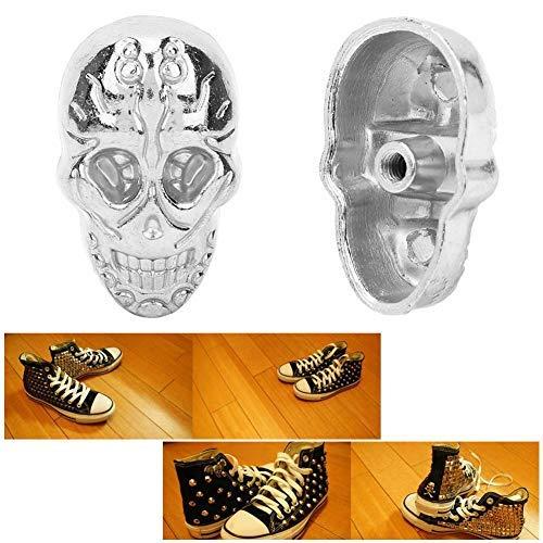 HEEPDD 20 Piezas Tachuelas de Calavera, cráneo Cruzado 3D Fantasma Remache espárrago Botones Decorativos Punk con 20 Piezas Tornillos para Bolsa cinturón de Cuero DIY fabricación(Plata)