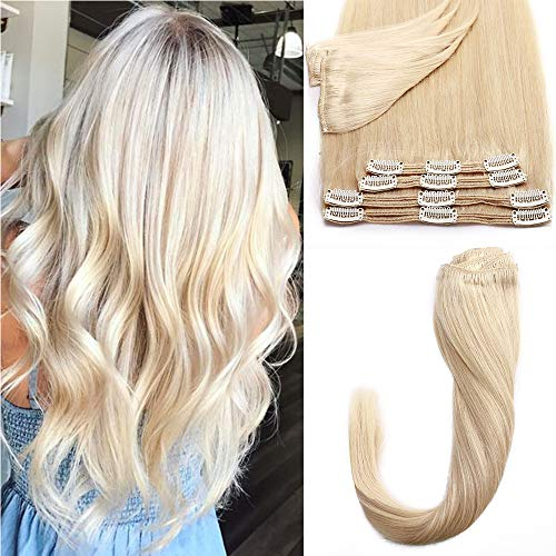Extension Clip Capelli Veri 613 Biondo Sbiancante Double Weft 8 Fasce/Set 110g 100% Remy Human Hair 25cm