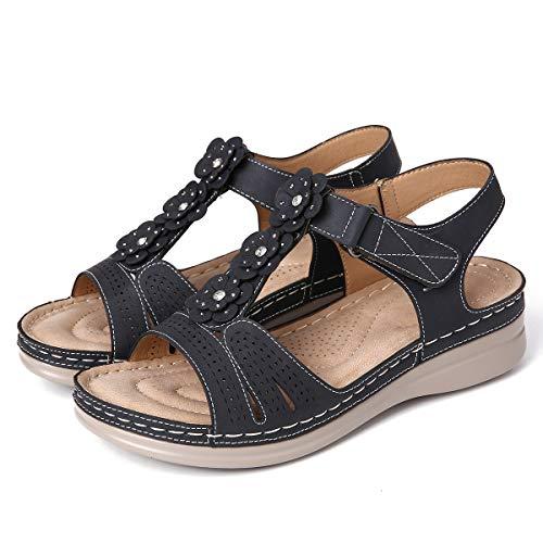 gracosy Sandalias Mujer Verano Flat Ajustable Deportivas Sandalias Playa Antideslizante Casual Caminar Zapatos Tobillo Correa Slingback Beige Negro