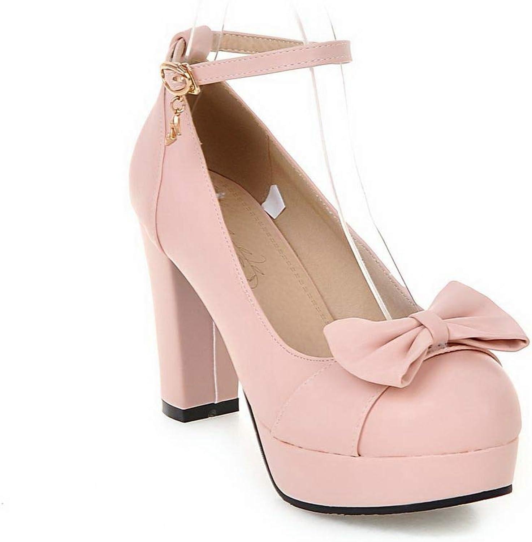 AdeeSu Womens Bows Platform Pleated Urethane Pumps shoes SDC05632