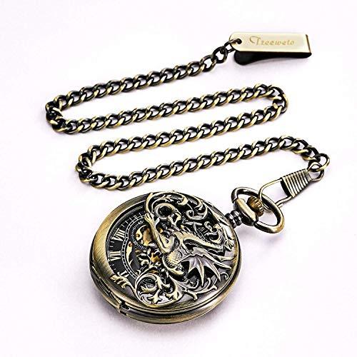 『TREEWETO 機械式 手巻き 懐中時計 両面蓋 龍透かし ローマ数字 ブロンズ スケルトン チェーン 付き』の3枚目の画像