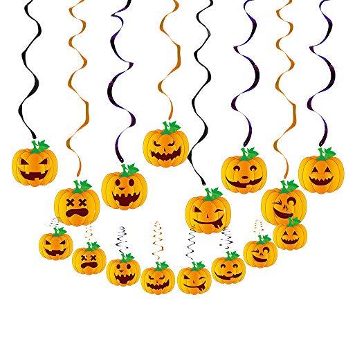 DerDer Vientiane - Set di striscioni per Halloween, bandierine di carta, zucche, maghi, vampiri, teschi e pipistrelli, per feste indoor/outdoor, Spirale singola + zucca., Quantity 6