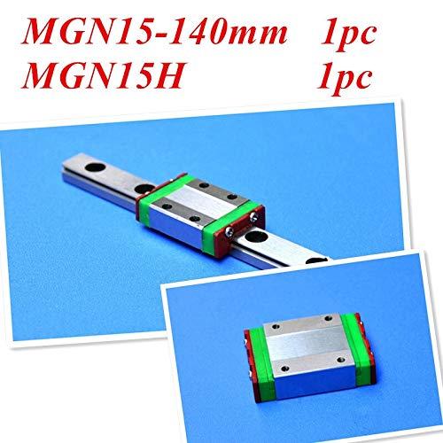 WJW-DAOGUI, 1pc/set 15mm Miniature Linear Guide MGN15 L= 140mm Rail + MGN15H CNC Block For 3D Printer Parts XYZ Cnc Parts