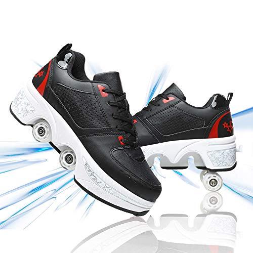 JZIYH Deformación Patines De Ruedas Multifunción Ajustables Polea Zapatos Recreación Al Aire Libre Zapatos para Patinar Fiesta Cumpleaños Regalo,Black Red,36