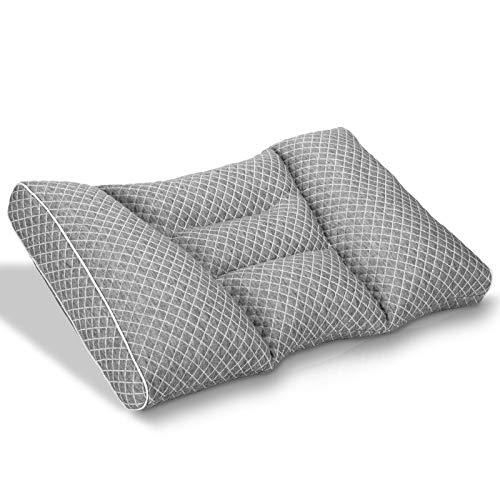 HOMCA 枕 低反発枕 高さ調整 パイプ枕 ピロー 仰向き 横向き対応 丸洗いOK 通気性抜群 (グレー)