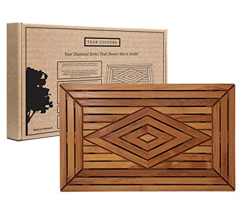 Teak Luxury Shower Mat Naturally Water-Resistant with...