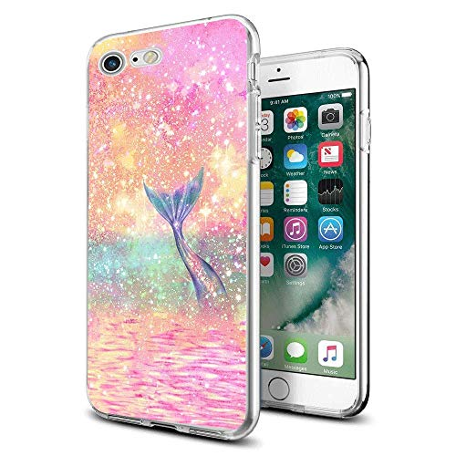 Cocomong Funny Cute Mermaid Scale Case for iPhone 7 and iPhone 8 Case Shinning Mermaid Clear Design Protective Soft TPU Phone Cover Gifts for Girls Women Men Boys Shockproof Bumper Anti-Scratch-Drop