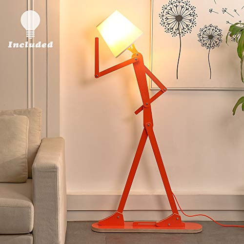 HROOME Cool Creative Floor Lamps Wood Tall Decorative Reading Standing Adjustable Light for Kids Boys Girls Living Room Bedroom Office Farmhouse - with LED Bulb (Orange)