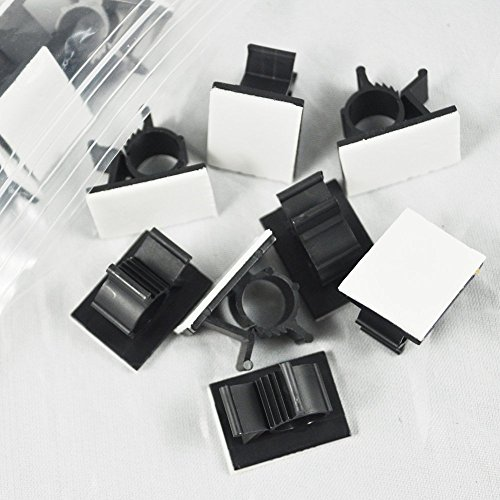 GBSTORE 25 Pcs UVB Plastic Kwik Clips Black Adhesive Backed Nylon Wire Adjustable Cable Clips Adhesive Cable Management Clips Adjustable Clamp
