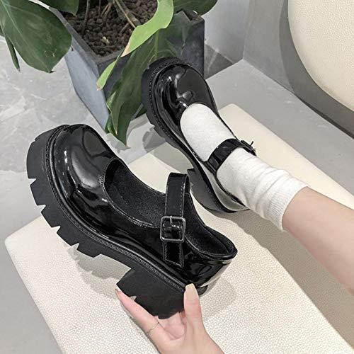 DQS Scarpe da Donna Scarpe Lolita in Stile Giapponese Scarpe da Donna Vintage Soft Sister Girls con Tacco Alto Scarpe con Plateau per Studenti Universitari Mary Jane