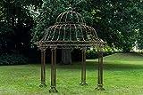 CLP Garten Pavillon Palais l Runder Rankpavillon Ø 370 cm, Höhe 440 cm l Stabiles Eisen (Metall) Pavillion im schlichten und stilvollen Design, Farbe:antik braun