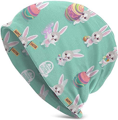 JJsister Wintermütze,Strickmütze,Beanie Mütze Easter Bunny Characters Cute Rabbit with Easter Beanie Hat Cute Skull Cap Stretch Casual Headwear
