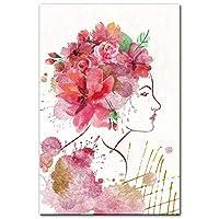 水彩少女フラワーガールのキャンバスポスター印刷、現代のミニマリストの絵の家の装飾は、リビングルーム、ベッドルーム、フレームレスのためのウォールアートプリントを描きます,30×45cm