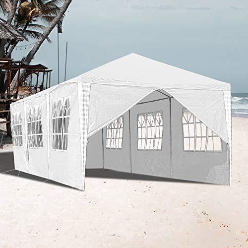 VINGO 3x9m Pavillon Wasserdicht Gartenpavillon weiß Stabiles Partyzelt Festzelt mit 8 Seitenteile Material PE-Plane für Garten Festival Party