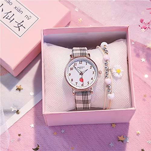 Lvmiao Reloj de Examen, Reloj japonés Lindo, Reloj de Cuarzo a Prueba de Agua, Reloj de Estudiante de escuelas Secundaria de niña de Temperamento Simple,2