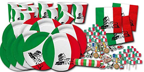Italien Flagge Motiv-Partygeschirrset Bella Italia