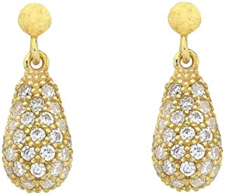 Bevilles 9ct Yellow Gold Silver Infused Cubic Zirconia Drop Earrings