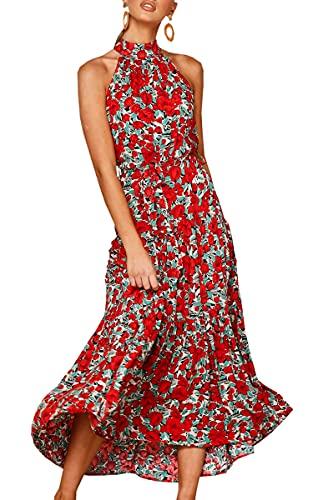 ECOWISH Women Dress Halter Neck Boho Floral Print Sleeveless Casual Summer Maxi Dresses with Belt 161Red Folral Medium