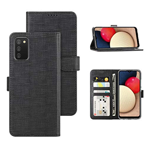 Feitenn Flip Wallet Case for Samsung Galaxy A02S 5G Cover, PU Leather Slim Folio Bumper Stand Card Holders Magnetic Closure Shockproof Defender Shell for Samsung Galaxy A02S 5G 2021 US Version - Black