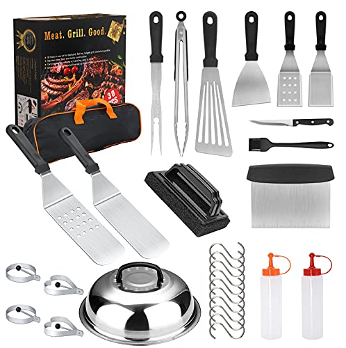 HTECHY Griddle Accessories, 30PCS Flat Top Grilling Accessories Kit with Spatula, Basting Cover, Scraper, Bottle, Tongs, Egg Rings & Carry Bag, BBQ Accessories Grill for Men Women Outdoor Camping