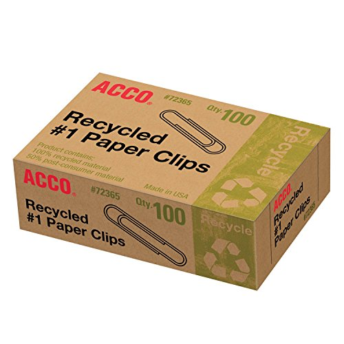 Acco Recycled #1 Paper Clips, 100 Count (A7072365A) (Office Product)