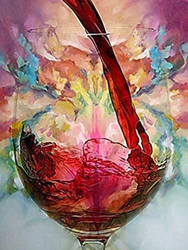 Lcgbw Kit de pintura al óleo por número, pintura al óleo para copas de vino tinto y pinturas para pared, dibujo con decoraciones de decoración, regalos (sin marco) - 60 x 75 cm