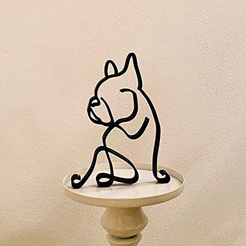 YJMN Dog Minimalist Art Sculpture Dachshund, Metal Abstract Line Minimalist Art Crafts, Creative Dog Line Drawing Ornaments for Living Room Bedroom, Home Office Decor (French Bulldog)