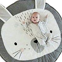 MJTP ベビープレイマットラウンドコットン動物保育園敷物ベビーフロアクロールマットゲーム毛布滑り止めプレイマット (灰色のウサギ)